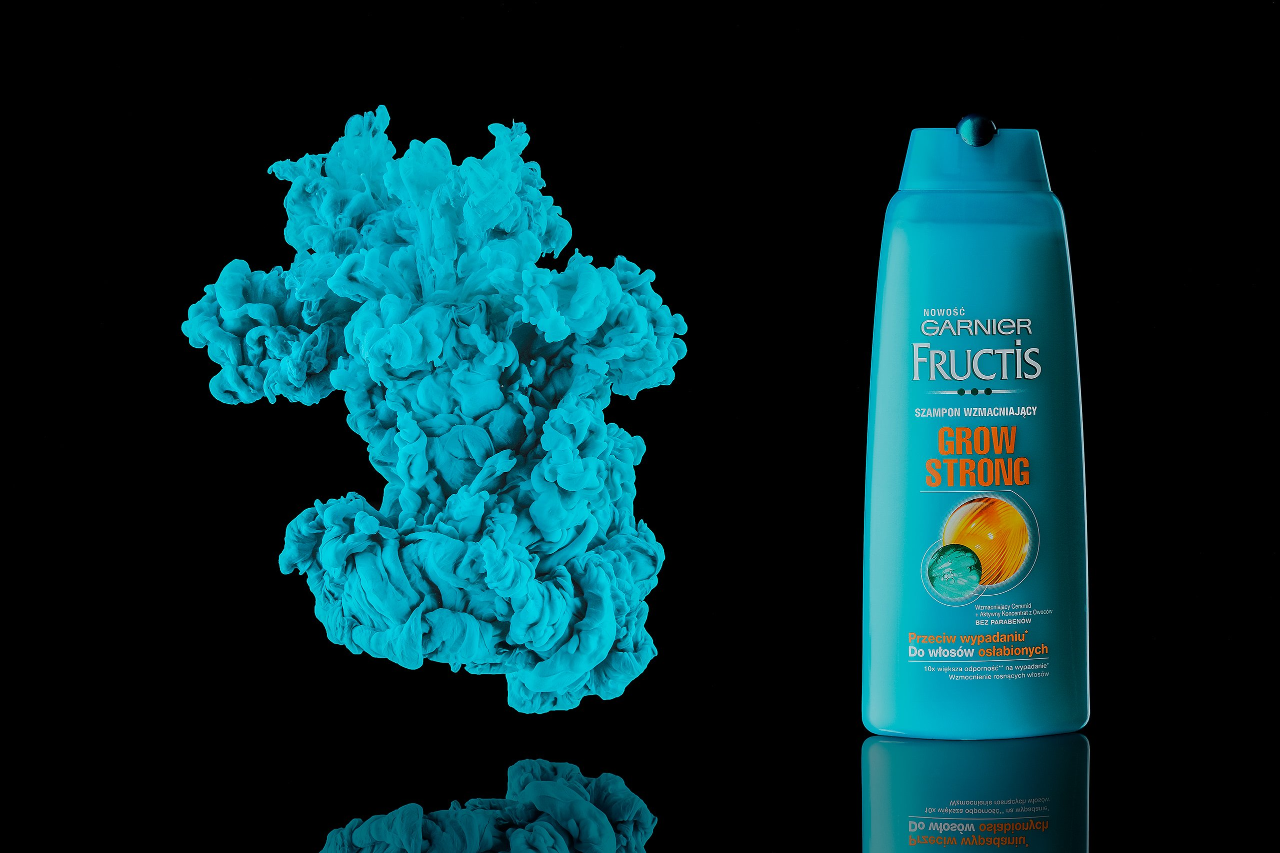 ecommerce product photography for turquoise shampoo