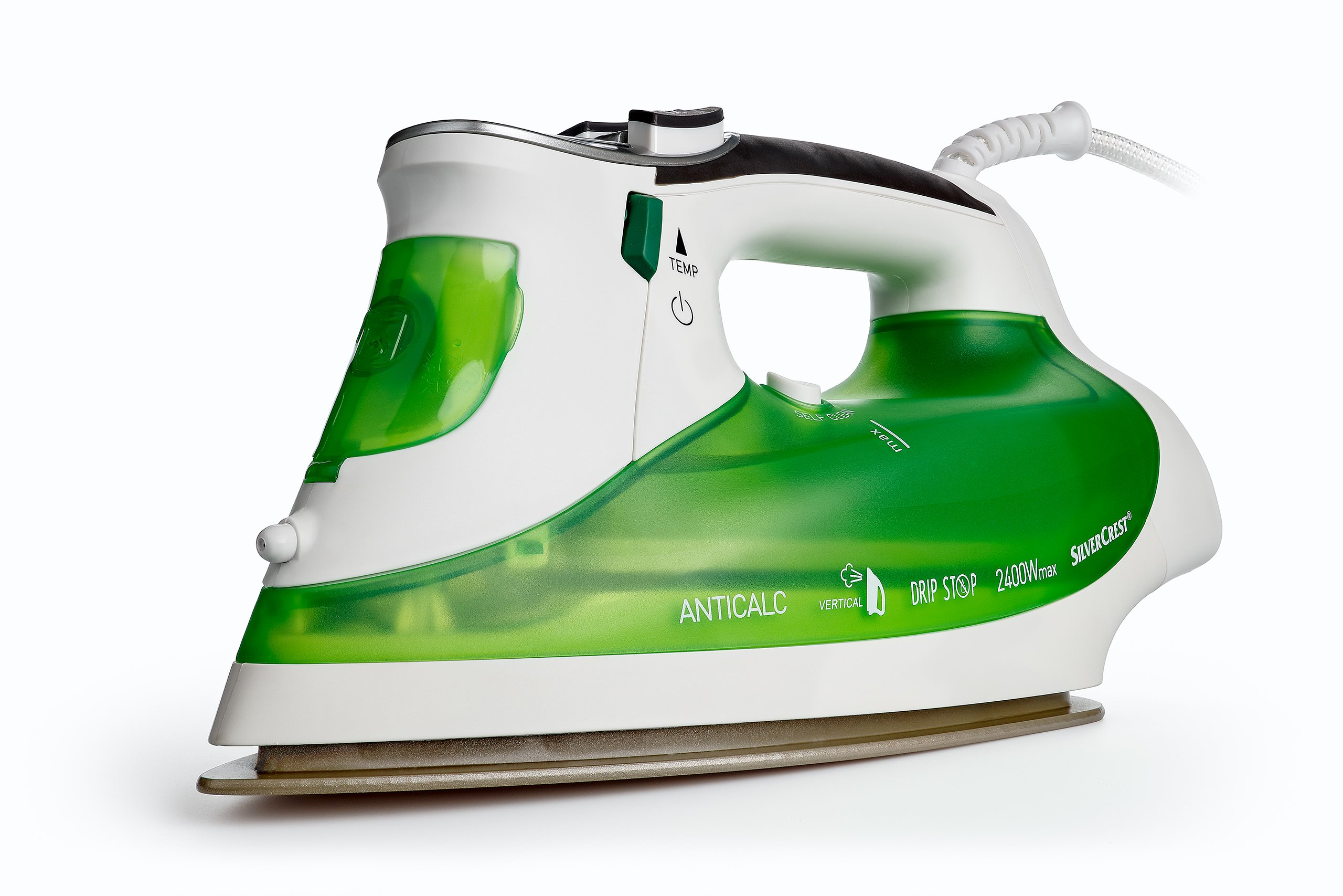 steam iron on white background